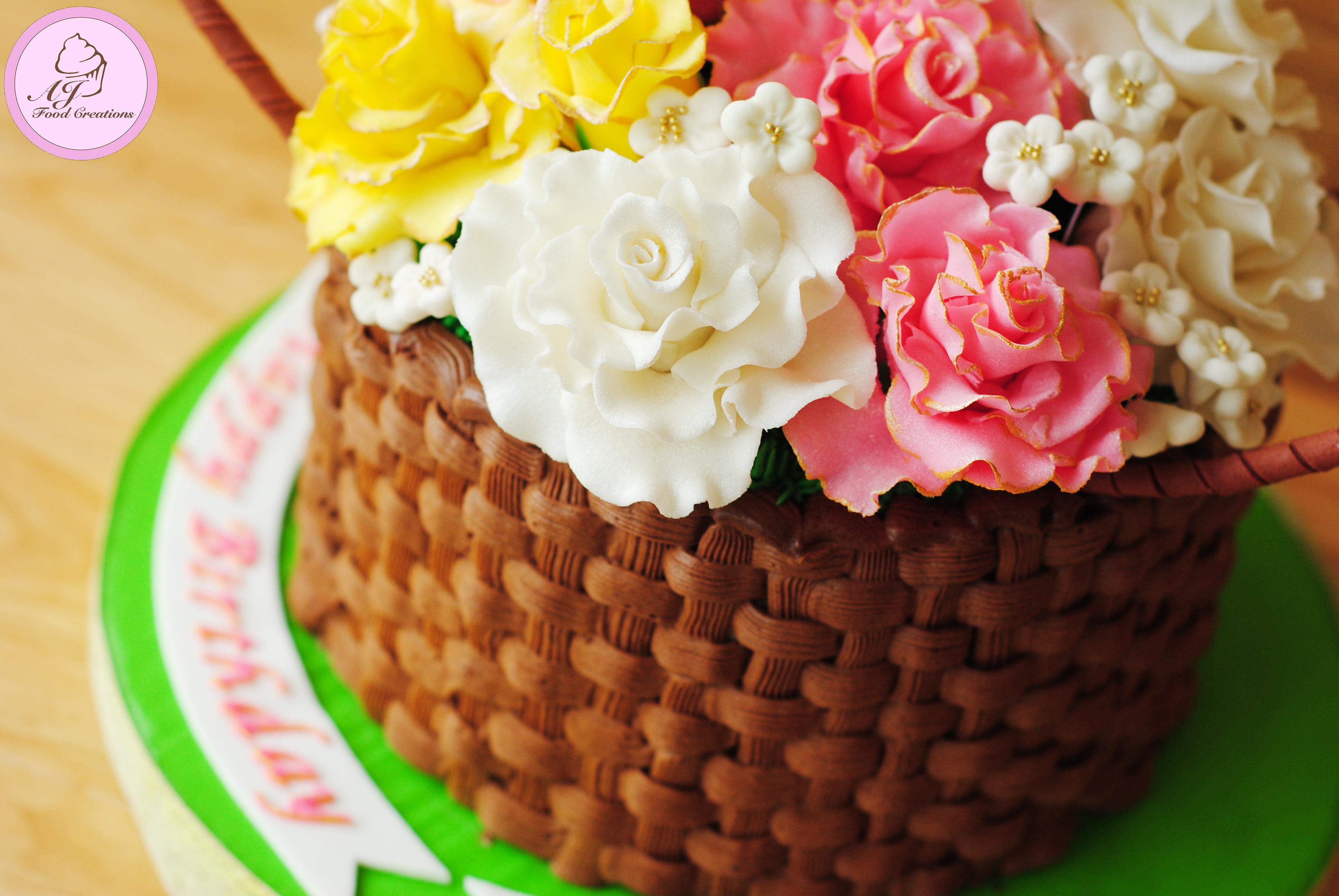 Basket Of Flowers Cake Lola Cedes 88th Birthday Aj Food Creations